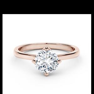 Кольцо солитер с белым бриллиантом в перевернутом касте