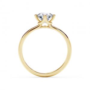 Кольцо солитер с бриллиантом в перевернутом касте