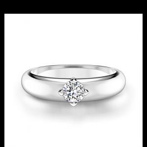 Выпуклое кольцо с бриллиантом внутри