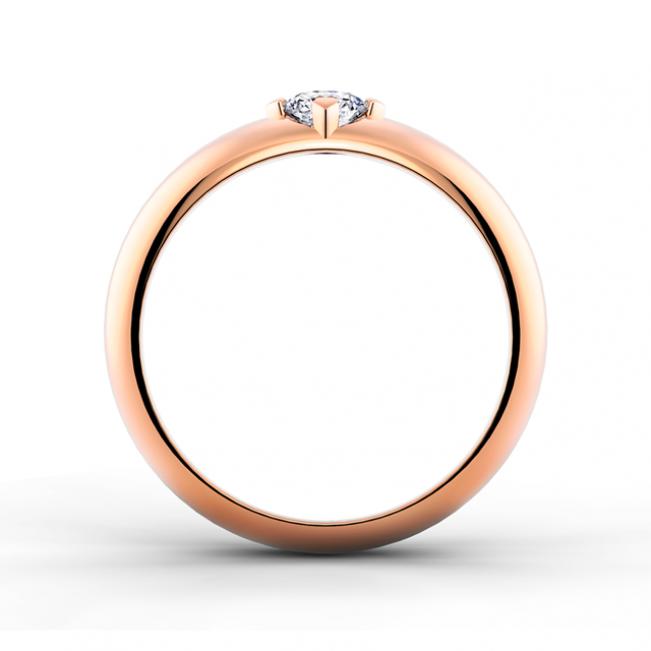 Кольцо с 1 бриллиантом из розового золота