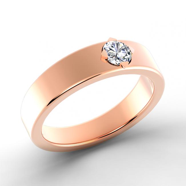 Кольцо обручальное с 1 бриллиантом - Фото 2