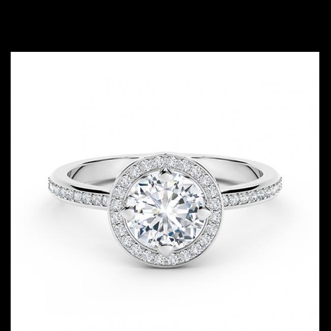 Кольцо дизайнерское с белым бриллиантом в ореоле