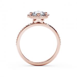 Кольцо с круглым белым бриллиантом в ореоле