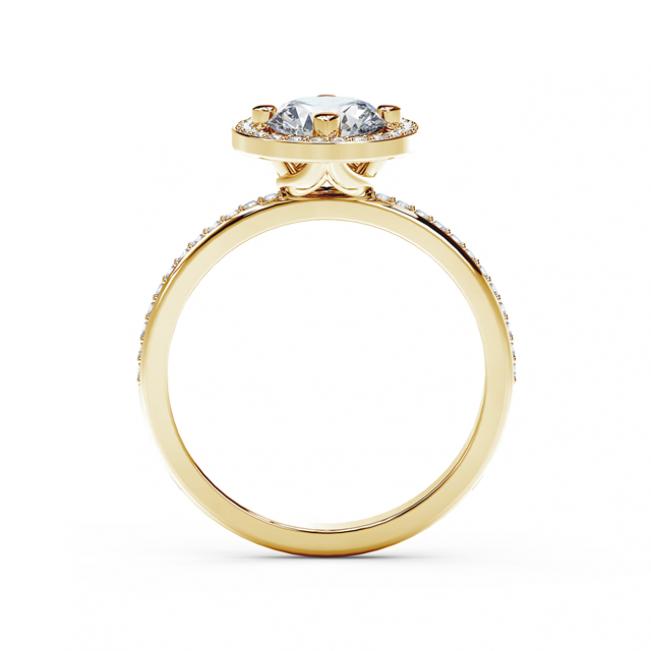 Кольцо с белым бриллиантом в ореоле