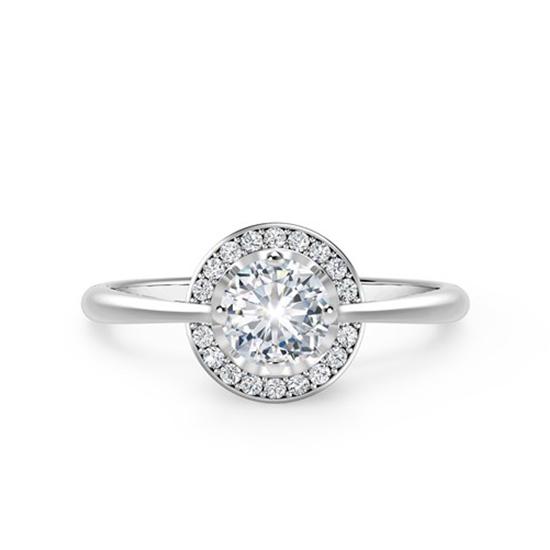 Необычноое кольцо с круглым белым бриллиантом в ореоле, Больше Изображение 1