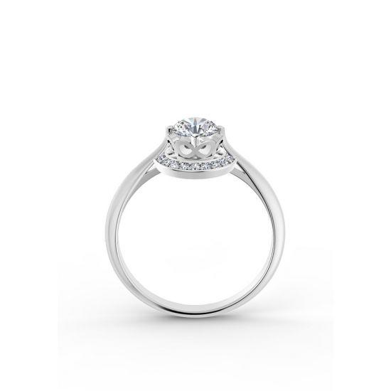 Необычноое кольцо с круглым белым бриллиантом в ореоле,  Больше Изображение 2