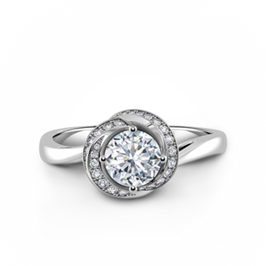 Дизайнерское кольцо с бриллиантом в бутоне, Больше Изображение 1