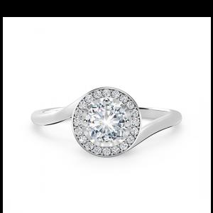 Кольцо с круглым бриллиантом в закрученном ореоле