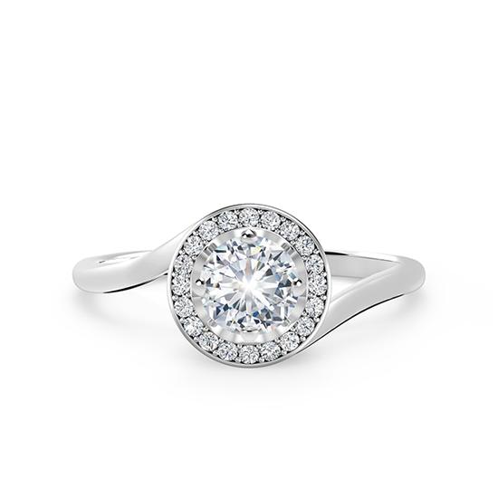 Кольцо с круглым бриллиантом в закрученном ореоле, Больше Изображение 1