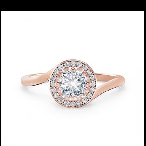 Кольцо с круглым бриллиантом в необычном оформлении