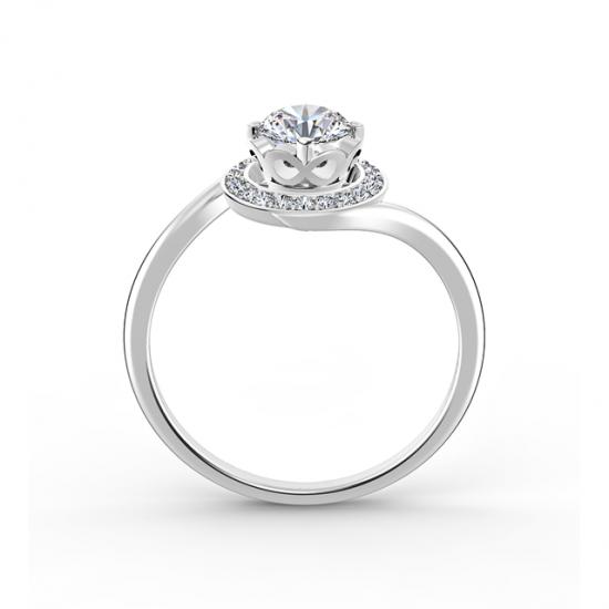 Кольцо с круглым бриллиантом в закрученном ореоле,  Больше Изображение 2