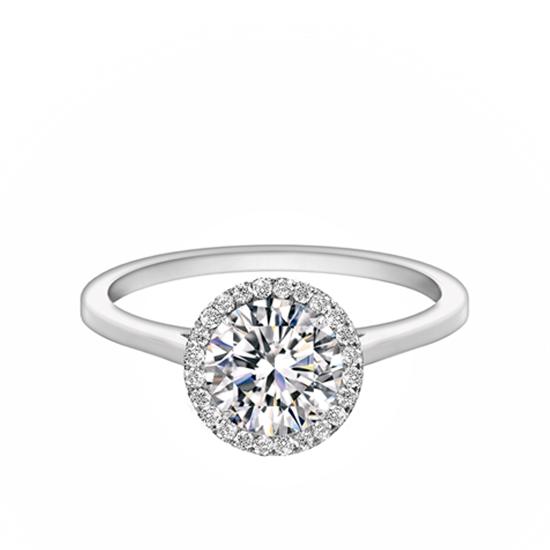 Кольцо с бриллиантом круг в ореоле, Больше Изображение 1