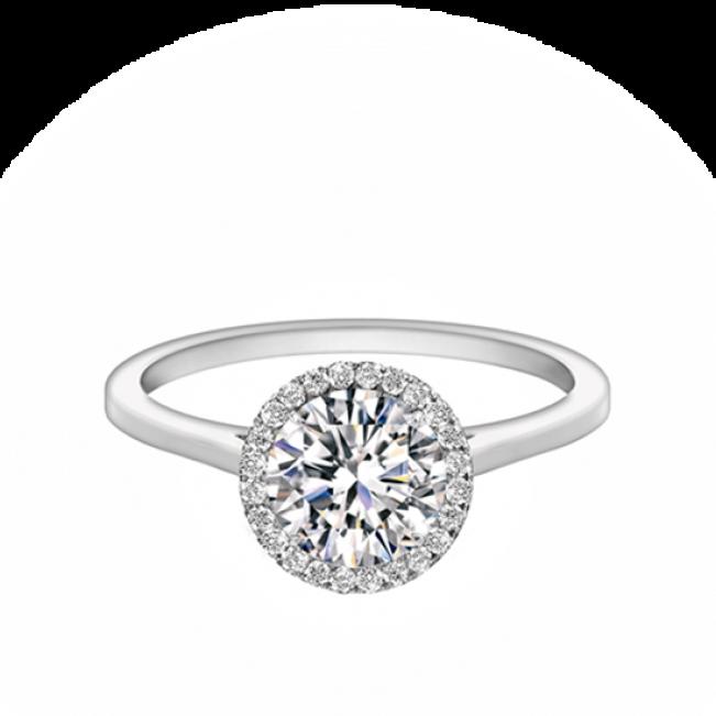 Кольцо с бриллиантом круг в ореоле