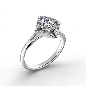 Дизайнерское кольцо с круглым белым бриллиантом