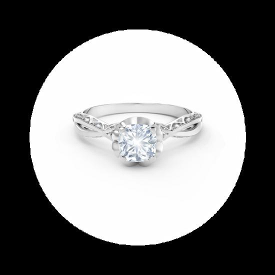 Кольцо с белым бриллиантом огранки «кушон» и дорожкой,  Больше Изображение 2