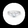 Кольцо с белым бриллиантом огранки «кушон» и дорожкой, Изображение 2