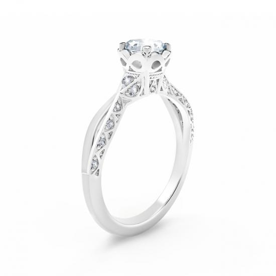 Кольцо с белым бриллиантом огранки «кушон» и дорожкой,  Больше Изображение 3