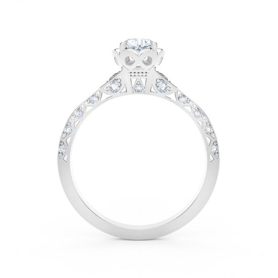 Кольцо с белым бриллиантом огранки «кушон» и дорожкой,  Больше Изображение 4