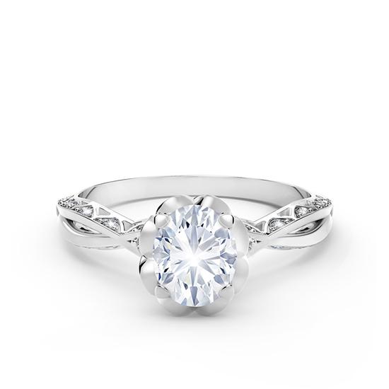 Кольцо с овальным белым бриллиантом и дорожкой, Больше Изображение 1