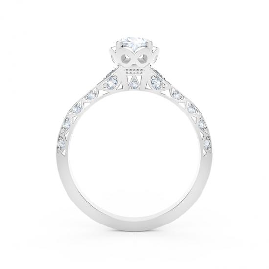 Кольцо с овальным белым бриллиантом и дорожкой,  Больше Изображение 3