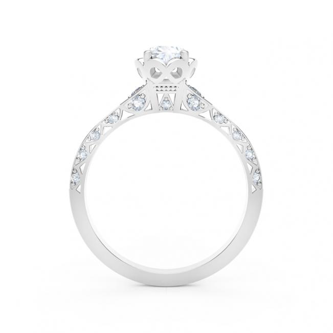 Кольцо с овальным белым бриллиантом и дорожкой - Фото 2