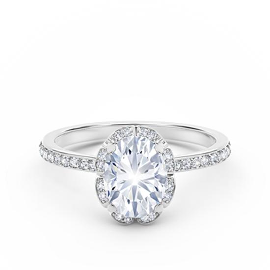 Кольцо с овальным белым бриллиантом в ореоле, Больше Изображение 1