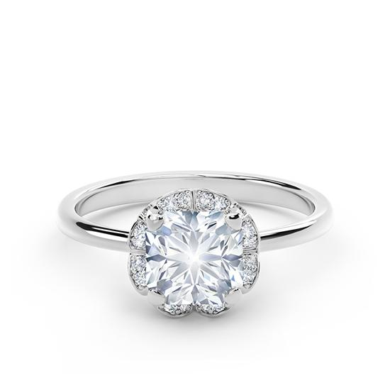 Кольцо с бриллиантом Кушон в ореоле, Больше Изображение 1
