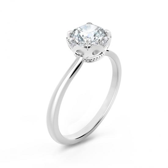 Кольцо с бриллиантом Кушон в ореоле,  Больше Изображение 2