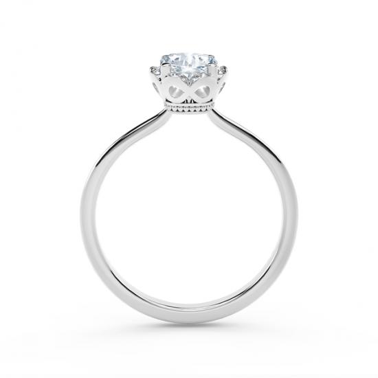 Кольцо с бриллиантом Кушон в ореоле,  Больше Изображение 3