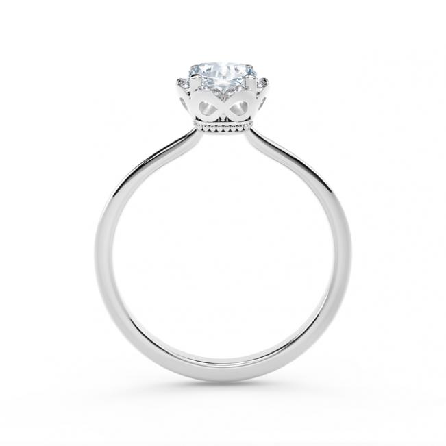 Кольцо с бриллиантом Кушон в ореоле
