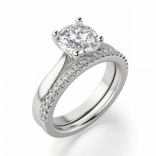 Кольцо помолвочное с круглым бриллиантом,  Больше Изображение 4