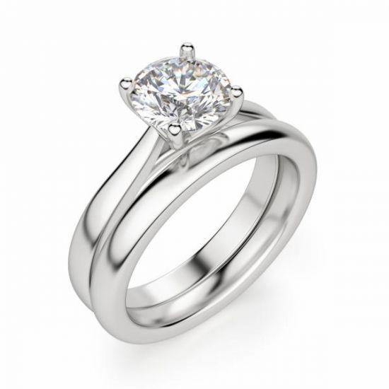 Кольцо помолвочное с круглым бриллиантом,  Больше Изображение 5