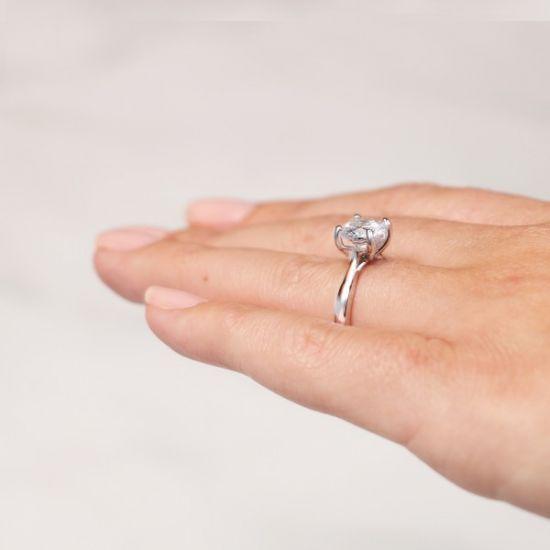 Кольцо помолвочное с круглым бриллиантом,  Больше Изображение 6