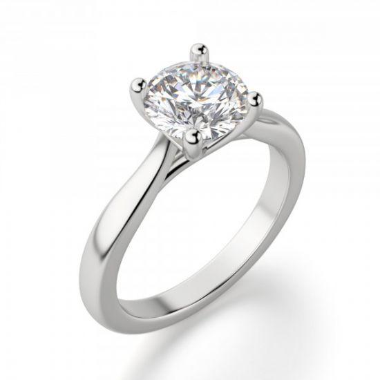 Кольцо помолвочное с круглым бриллиантом,  Больше Изображение 3