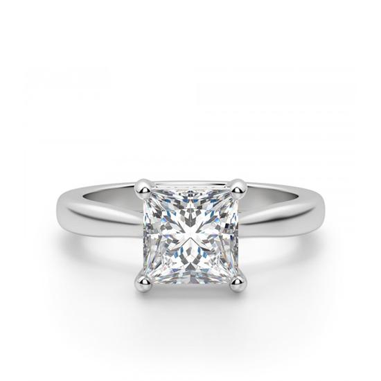 Кольцо с бриллиантом огранки Принцесса со скрытым ореолом, Больше Изображение 1