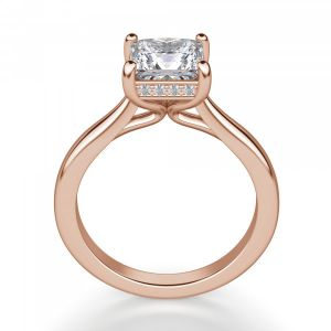 Кольцо из розового золота с бриллиантом Принцесса