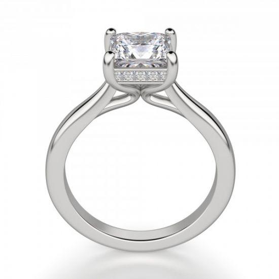 Кольцо с бриллиантом огранки Принцесса со скрытым ореолом,  Больше Изображение 2