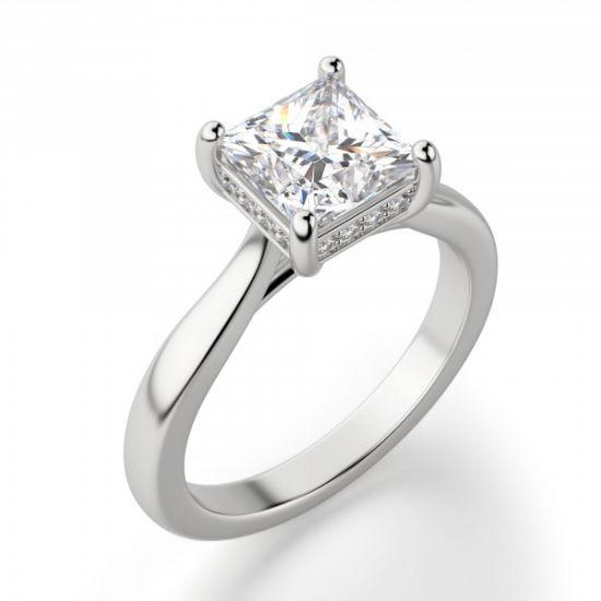 Кольцо с бриллиантом огранки Принцесса со скрытым ореолом,  Больше Изображение 6