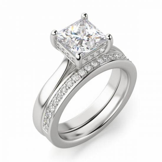 Кольцо с бриллиантом огранки Принцесса со скрытым ореолом,  Больше Изображение 5