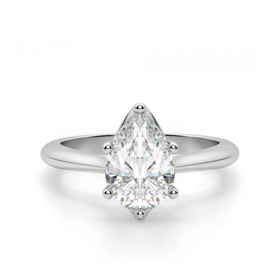 Кольцо солитер с бриллиантом огранки «груша», Больше Изображение 1