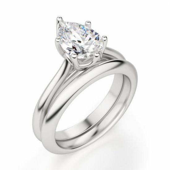Кольцо солитер с бриллиантом огранки «груша»,  Больше Изображение 2