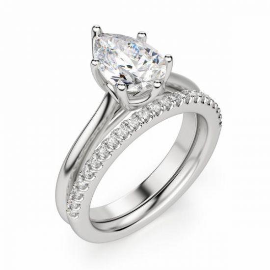 Кольцо солитер с бриллиантом огранки «груша»,  Больше Изображение 3