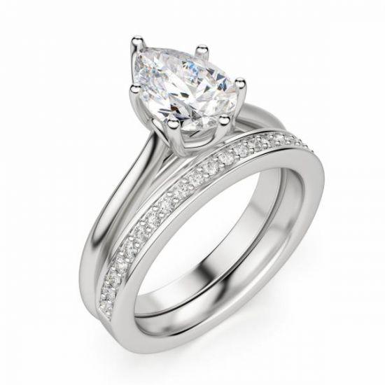 Кольцо солитер с бриллиантом огранки «груша»,  Больше Изображение 4
