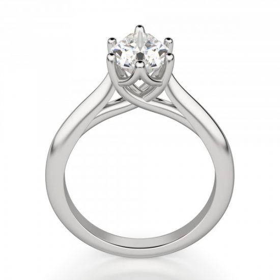 Кольцо солитер с бриллиантом огранки «груша»,  Больше Изображение 5