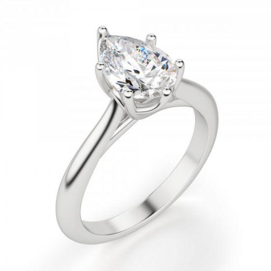 Кольцо солитер с бриллиантом огранки «груша»,  Больше Изображение 6