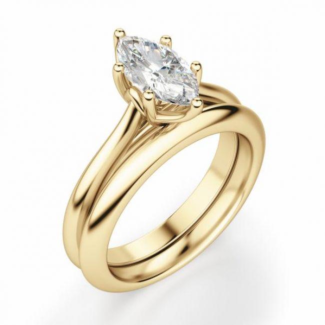 Кольцо солитер с белым бриллиантом Маркиз - Фото 1
