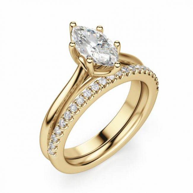 Кольцо солитер с белым бриллиантом Маркиз - Фото 2
