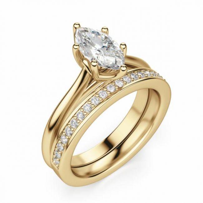 Кольцо солитер с белым бриллиантом Маркиз - Фото 3