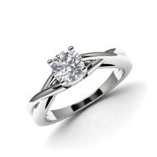 Кольцо с перекрещенное солитер с бриллиантом