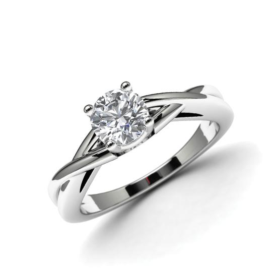 Кольцо с перекрещенное солитер с бриллиантом, Больше Изображение 1